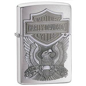 Zippo Harley-Davidson Eagle Logo Emblem Lighter (Silver, 5 1 2 x 3 1 2 cm) by Zippo