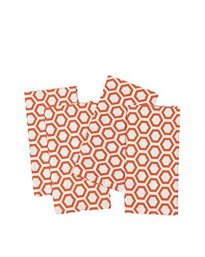 KAF Home Set of 4 Hexagon Napkins, Carrot Orange