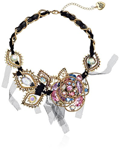 "Betsey Johnson ""Prom Party"" Crystal Rose Woven Mesh Necklace, 20"" front-1004581"