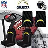 NFL San Diego Chargers Car Seat Covers, Floor Mats and Steering Wheel Cover Set with Bonus CD Wallet