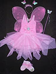 Baby Girl Birthday Party Costume dress set with Butterfly wings