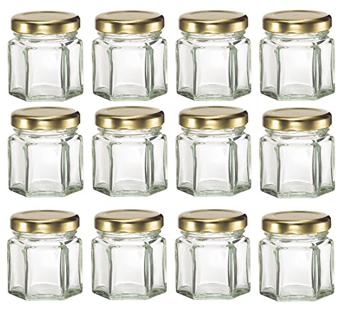 1.5 oz Mini Hexagon Glass Jars