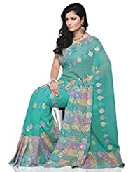 Utsav Fashion Women's Light Turquoise Faux Georgette Saree with Blouse