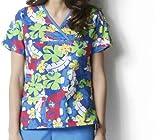 WonderWink 6027 Women's Printed Mock Wrap Top Miami Nice Small