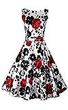 ACEVOG Femmes Robe vintages sans manches des années 50 marquée à la taille avec imprimé floral...