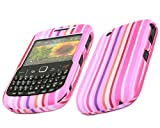 ITALKonline PINK PURPLE WHITE RAINBOW LINES DESIGN BlackBerry 8520 Curve (Gemini), 9300 3G Hybrid Armour Hard Tough Shell Clip On Case Skin Cover