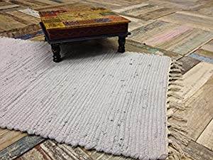 Hand Loomed Cotton Indian Chindi Stitched Rag Rug in Pale Grey 60cm x 90cm by Second Nature Online