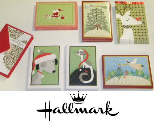 18 Premium Assorted Christmas Cards Set of Festive Themed Holiday Greeing Cards with Envelopes