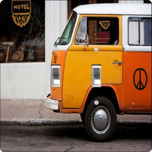 Rikki Knighttm Vintage Orange Volkswagen Beetle Van Design Double Toggle Light Switch Plate front-627562