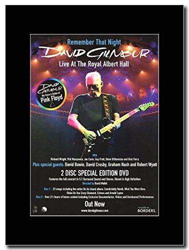 Pink Floyd-David Gilmour-ricordare che Night Magazine Promo su un supporto, colore: nero