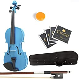 Mendini 1/32 MV Solid Wood Blue Violin with Hard Case, Bow, Rosin and Extra Strings, Blue