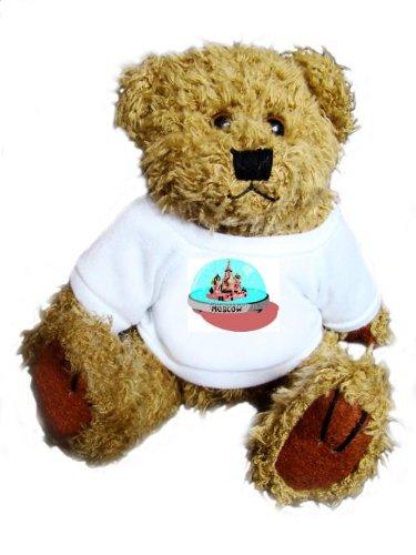 """Teddybär mit einem T-Shirt mit der Grafik: Moskau, Kreml, """"Schneekugel"""", """"Red Square"""", Russland"""