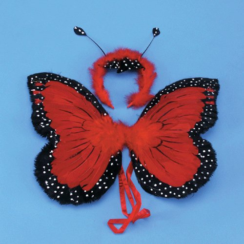"Butterfly Wings 14"" Red Feather"