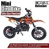 DR-X Holeshot Kids Mini Dirt Bike Gas Power 2-Stroke 50cc Dirt Motorcycle Off Road Motorcycle, Pit Bike, Fully Automatic Transmission, Orange