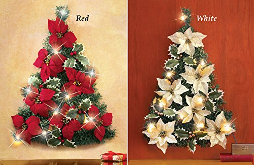 Led Lighted Poinsettia Christmas Tree Wall Decoration Red