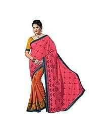 Ashika Designer Pink, Orange Raw Silk Material Saree, Sari(244)