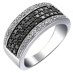 Sterling Silver Black and White Diamond Ring (3/4 CT) In Size 8