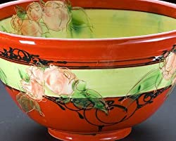 Salad Bowl - Red with Flowers