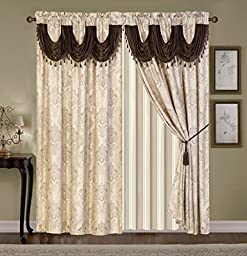 WPM\'S Fabulous Luxury Embroidered Curtain Set. 4 Piece Cream Gold Beige Brown Drapes with Backing & Valance & Tie Backs- WC 1315