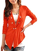 Allegra K Women Long Sleeve Double Breasted High Low Casual Light Weight Blazer