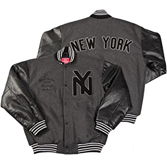 New York Black Yankees Premium Varsity Jacket by Common Union (Grey) by Common Union