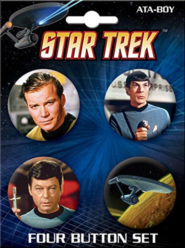 Ata-Boy Star Trek Enterprise and Crew 4 Button Set