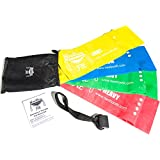 NeeBooFit Resistance Physical Therapy Band Set - Best Flat Exercise/Fitness Bands - 6 Feet Long, 6 Inches Wide - Door Anchor and Carry Bag Included