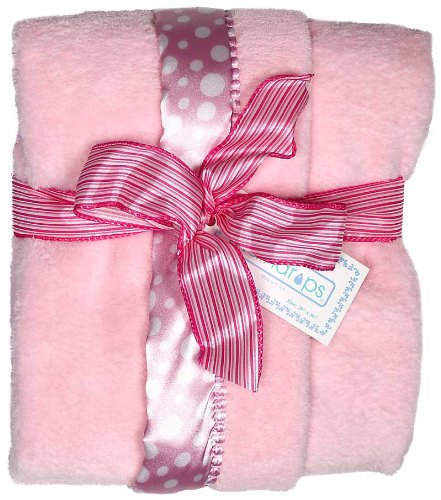 Raindrops Flurr Receiving Blanket, Pink with White Dots