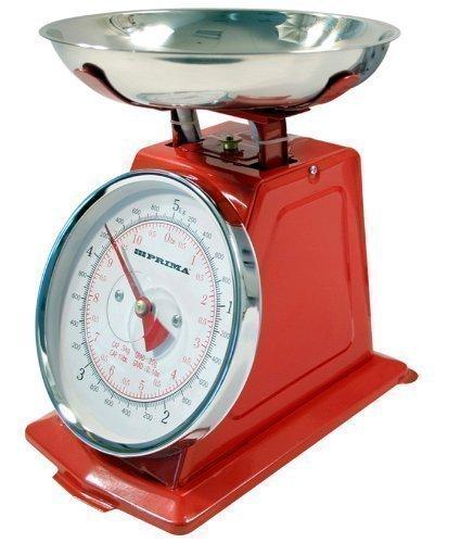 Balance mécanique traditionnelle de cuisine rouge 5kg style rétro