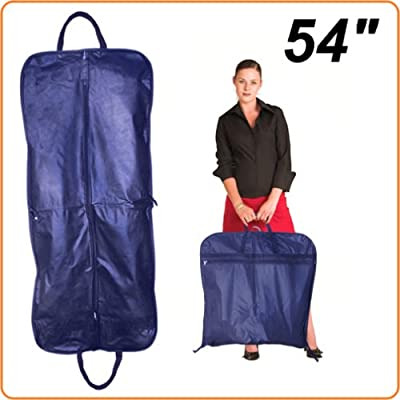 "NAVY 54"" SUIT COVER CARRIER BAG FOR TRAVEL- With Handles & Accessory Pocket from HANGERWORLD"