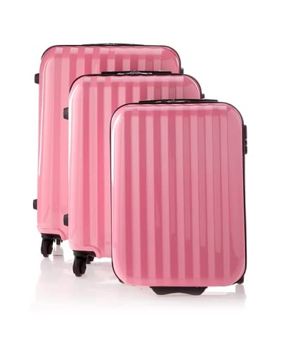 David Jones Unisex 3 Piece Luggage Set, Pink