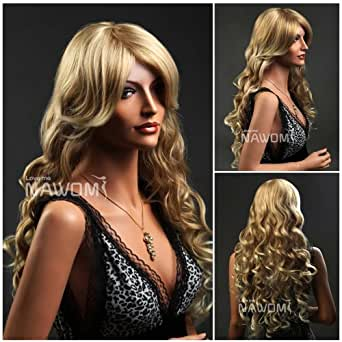 (WG-XC96-27T613) Long Wave Hair Wig,Golden Blonde color