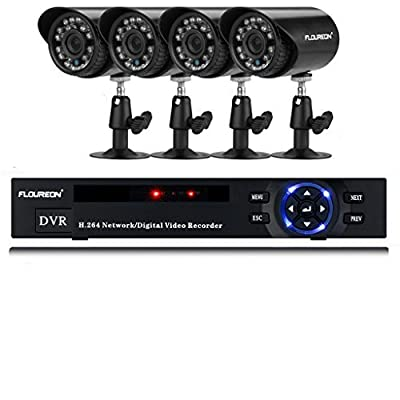 FLOUREON 4CH Onvif 960H CCTV DVR + 4 X Outdoor Waterproof 900TVL IR-CUT Day Night Vision Bullet Cameras Home Security Kit