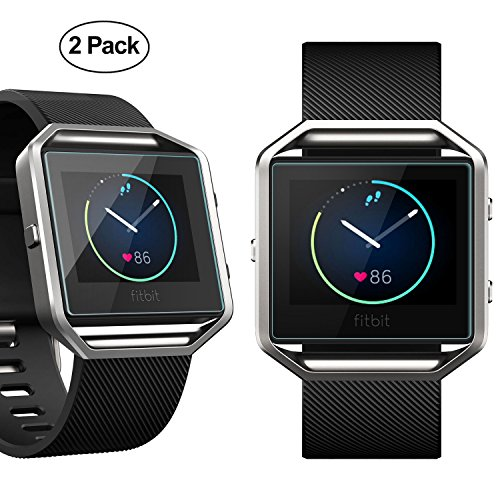 Fitbit Blaze Screen Protector, iXCC 0.3mm Ultra Thin Clear Scratch-Resistant Tempered Glass Screen Protector with Oleophobic Coating - 2 Packs