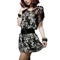 キュート ! 透け 花柄 シフォン べルト付 ワンピース 着痩せ ドレス 大人 レディース ファッション / ホワイト × ブラック / S M L XL XXL XXXL 大きい サイズ あり