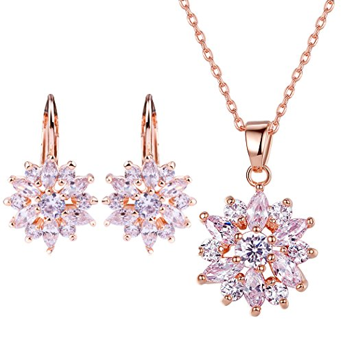 Bamoer Snowflake Earring Stud Necklace Pendants