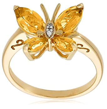 Yellow Gold Plated Sterling Silver Citrine and Diamond-Accent Butterfly Ring