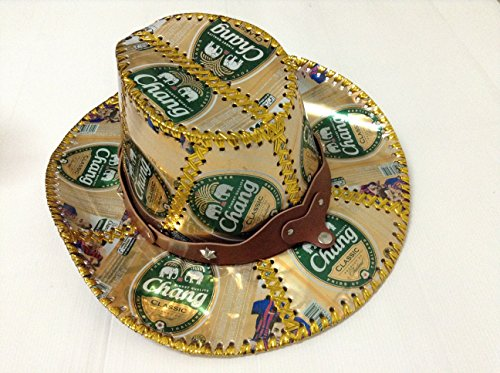 thai-chang-beer-can-cow-boy-hat-recycled-box-handmade-fancy-party-man-woman-gold-green