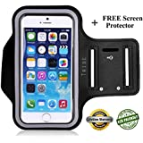 """Lifetime Warranty + FREE Screen Protector, Premium Tribe Running iPhone 6S   6 (4.7"""") Sports Armband   Also Fits iPhone 5/5S/5C, Galaxy S4 + Key Holder, Water Resistant"""
