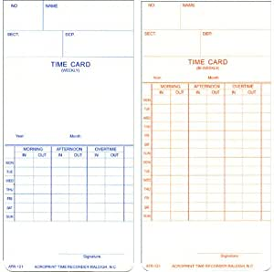"Acroprint 09-9110-000 Payroll Recorder Time Cards ATR121, For the ATR120 Time Clock, Pack of 250 Cards, Weekly/Bi-Weekly, English, 3-3/8"" x 7-1/4"""
