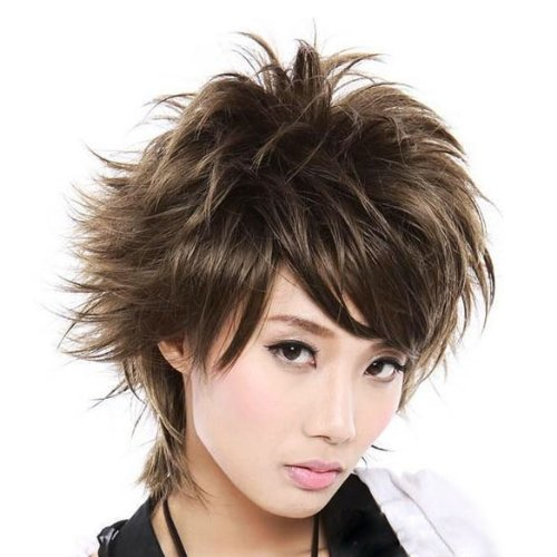 ACE Fluffy Short Curly Light Brown Lady Full Wig New Stylish Short Women Hair Wig