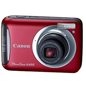 Canon PowerShot A495 10.0 MP Digital Camera with 3.3x Optical Zoom and 2.5-Inch LCD (Red)