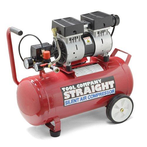 (STRAIGHT/ストレート) 30L 静音オイルレス エアーコンプレッサー 100V 1馬力 17-6019