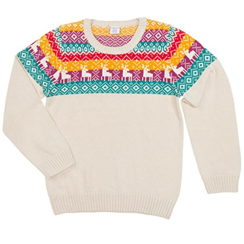 POLARN O. PYRET NORDIC REINDEER HOLIDAY SWEATER (6-12YRS) - 8-10 years/White Sand