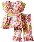 Bonne Baby-girls Newborn Short Sleeve 2 Piece Ruffle Trim Kimono Set, Flower Power Pink, 9 Months