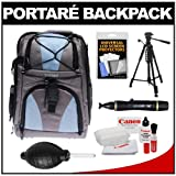 Portare Multi-Use Laptop/iPad/Digital SLR Camera Backpack Case (Gray/Blue) with 57
