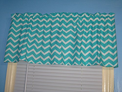 LINED Handmade 100% Cotton Turquoise White Chevron Zigzag Srtipe Window Curtain Valance