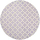 Safavieh Cambridge Collection CAM130C Handmade Lavender and Ivory Wool Round Area Rug, 6 feet in Diameter (6' Diameter)