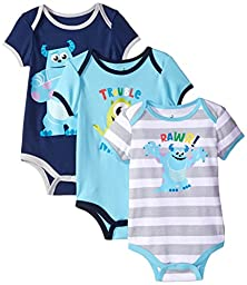 Disney Baby-Boys Monsters Inc Sully Bodysuit, Blue,3-6 Months (Pack of 3)