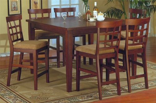 Buy Low Price Poundex 7pc Dark Maple Finish Counter Height Dining Table & 6 High Chairs Set (VF_dinset7-f2301-f1031)